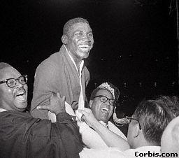 Dick Tiger Hoisted on Shoulders, San  Fransciso, California, October 23, 1962