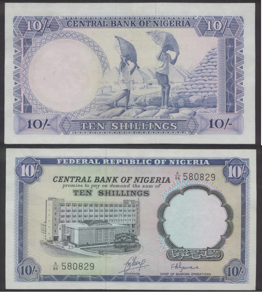 Nigeria ten shillings bank note